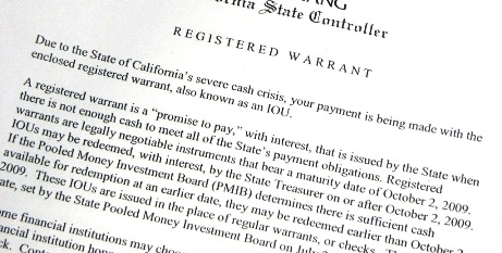 California IOU, registered warrant